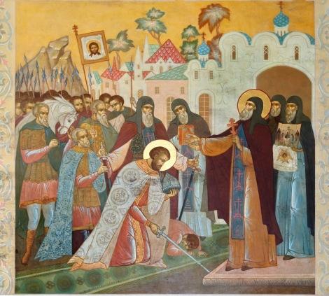 St. Sergius blessing Dmitri before the battle of Kulikovo